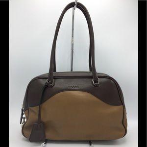 Prada Vintage Brown Leather Shoulder Satchel Bag